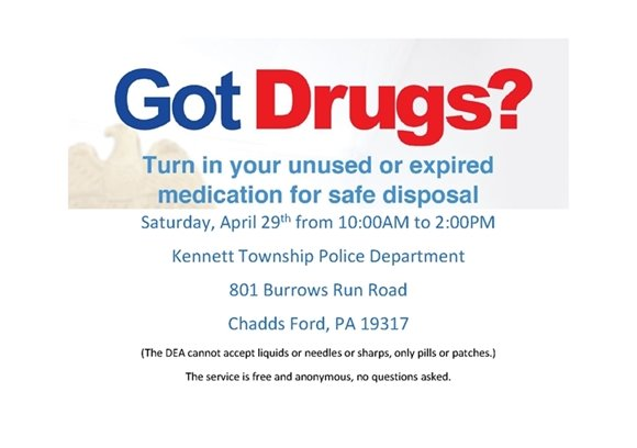 Drug Take Back Event this Saturday April 29th