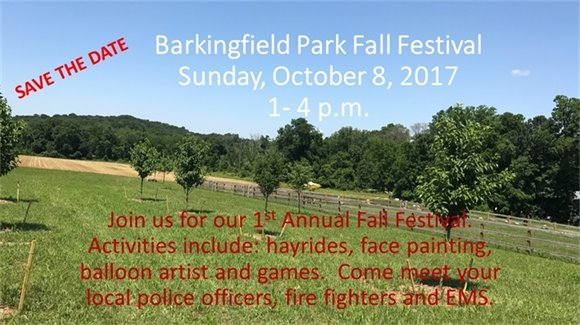 Barkingfield Park Fall Festival Save the Date