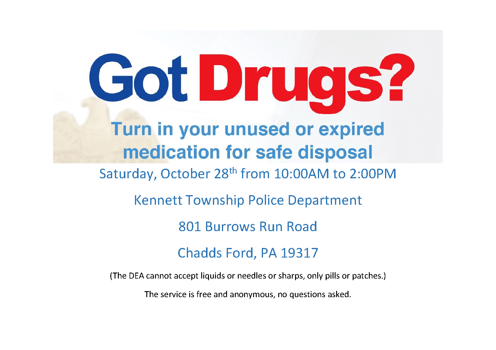 Drug Take Back Event 10/28/17