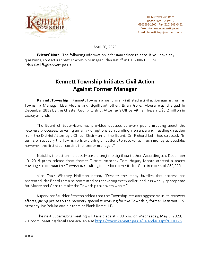 Press Release Kennett Township 30 April 2020 Civil Suit (002)