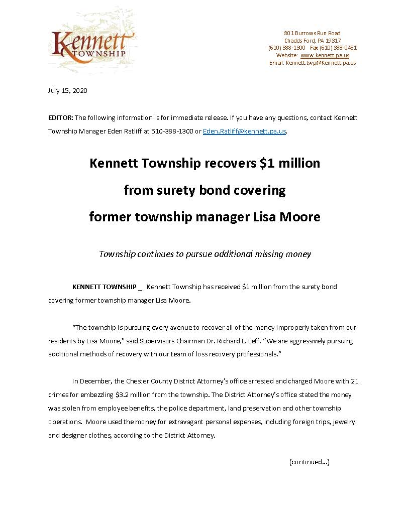 Press Release: Kennett Township Surety Recovery_pg1