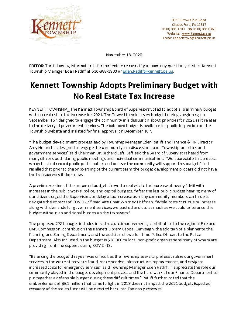 20 KENNETT TWP Press Release- 2021 Budget 111820_Page_1